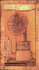 Betram Thorne's marquetry picture depicting his acoustic horn gramophone