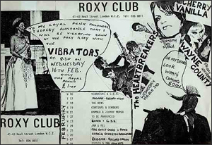 Roxy flier, The Vibrators, February 16 1977