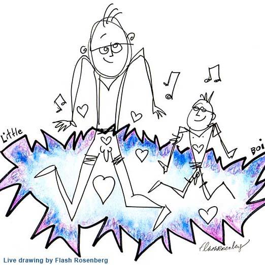 Art for Little Boi, live drawing by Flash Rosenberg