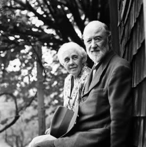 Harmony & Charles.Ives, c1946 outside their summer home in West Redding, CT photo: Halley Erskine courtesy Yale Music Library