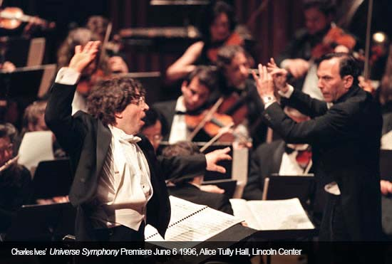 Johnny Reinhard conducts the AFMM Orchestra in the premiere of Ives' Universe Symphony, June 6 1996