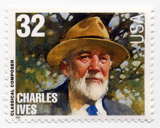 US postage stamp featuring Charles Ives