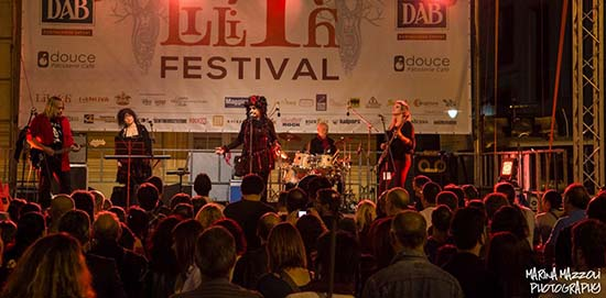 The Lene Lovich Band onstage in Genoa