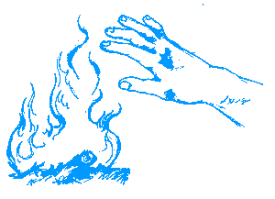 Sketch of hand reaching to fire