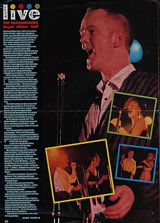 Poster for the Communards at the Royal Albert Hall