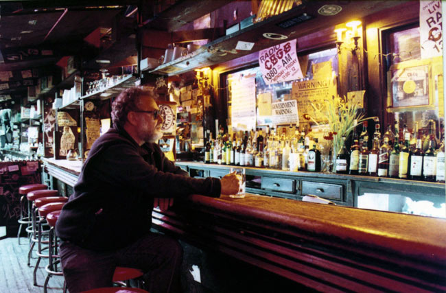 Hilly at the bar in CBGB