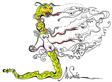 Flash Rosenberg live drawing of BETTY's song, Ms Snake