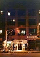 CBGB frontage on Bowery street at night