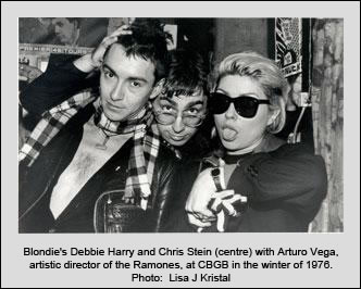 Blondie's Debbie Harry and Chris Stein (centre) with Arturo Vega, artistic director of the Ramones, at CBGB in the winter of 1976