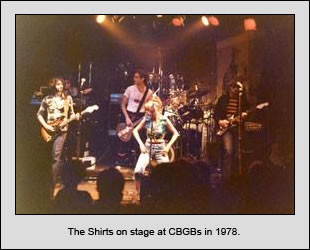 The Shirts on stage at CBGB's in 1978.