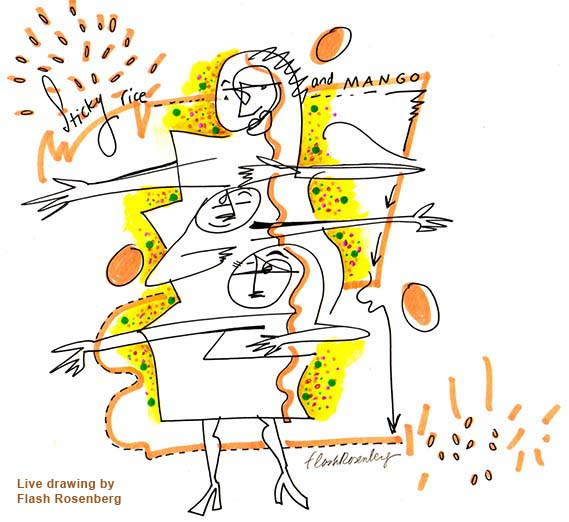 Art for Sticky Rice, live drawing by Flash Rosenberg