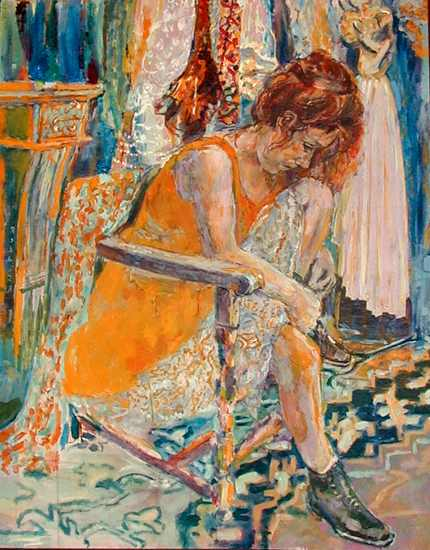 Painting of Sarah Jane Morris by Mike Reddish