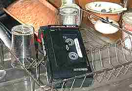 Lene's cassette in kitchen sink draining basket
