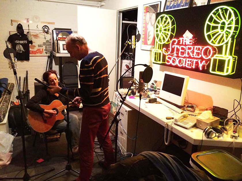 Mike Thorne and Elizabeth Ziff preparing to record