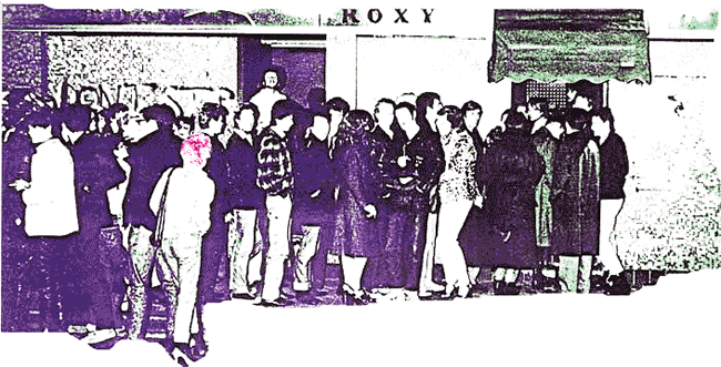 Queuing outside the Roxy