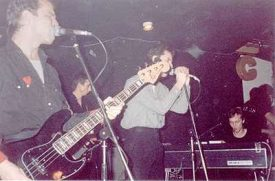 Wire on stage in Middlesborough, 1978, Mike Thorne on keys