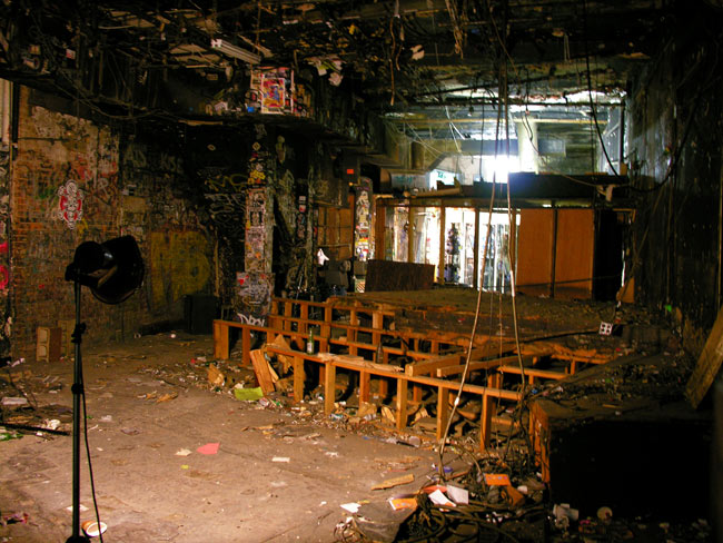 The remains of the stage, and the dressing rooms in the distance, October 30 2006, the day before the keys were handed back to the landlord.