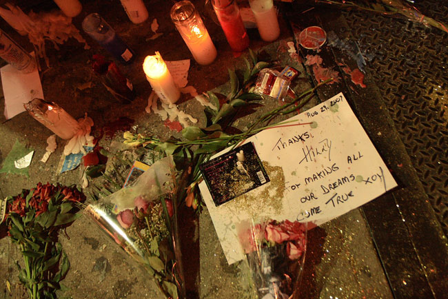 Flowers and candles, tributes to Hilly Kristal, outside 315 Bowery, formerly CBGB & OMFUG, late evening August 29 2007