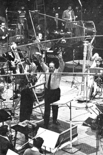 Pierre Boulez conducting the BBC Symphony Orchestra and Chorus at the Methodist Central Mission in West Ham, London, in 1974