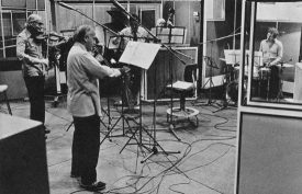 Stephane Grappelli and Yehudi Menuhin recording in EMI Abbey Road Studio 2, May 1975