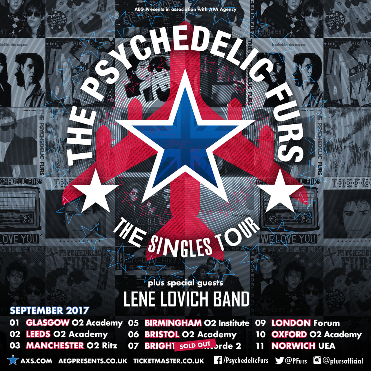 Poster for the Lene Lovich Band with the Psychodelic Furs, 2017 tour