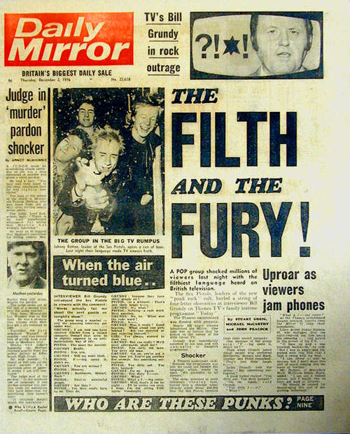 Front page of the Daily Mirror 1976: 'The Filth And The Fury'